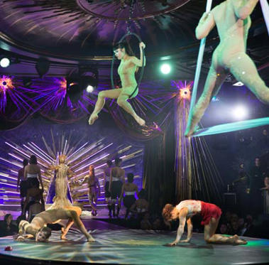 Circuslike acts are just some of the performances in Queen of the Night, in the restored Billy Rose's Diamond Horseshoe nightclub in the basement of the Paramount Hotel, New York.