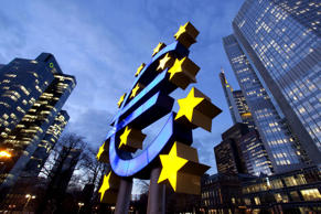 European Central Bank, right, with the euro symbol and Dresdner Bank, left, in Frankfurt am Main, Hesse, Germany, Europe