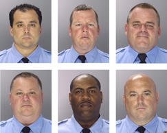 This undated photo combination provided by the Philadelphia Police Department shows from top left to right, Philadelphia Police officers Thomas Liciardello, Brian Reynolds, Michael Spicer, and from bottom left to right, Perry Betts, Linwood Norman and John Speiser. The six city narcotics officers were arrested Wednesday, July 30, 2014 and the charges in the 26-count indictment include racketeering conspiracy, extortion, robbery, kidnapping and drug dealing.