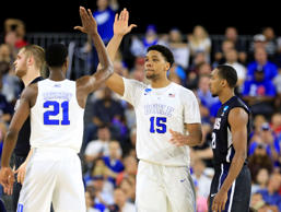 Mar 29, 2015; Houston, TX, USA; Duke Blue Devils center Jahlil Okafor (15) celebrates with forward Amile Jefferson (21) during the first half in the finals of the south regional of the 2015 NCAA Tournament against the Gonzaga Bulldogs at Reliant Stadium. Mandatory Credit: Kevin Jairaj-USA TODAY Sports