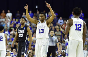 Duke Blue Devils guard Matt Jones celebrates as time expires during the second half in the finals of the south regional of the 2015 NCAA Tournament against the Gonzaga Bulldogs March 29 in Houston.