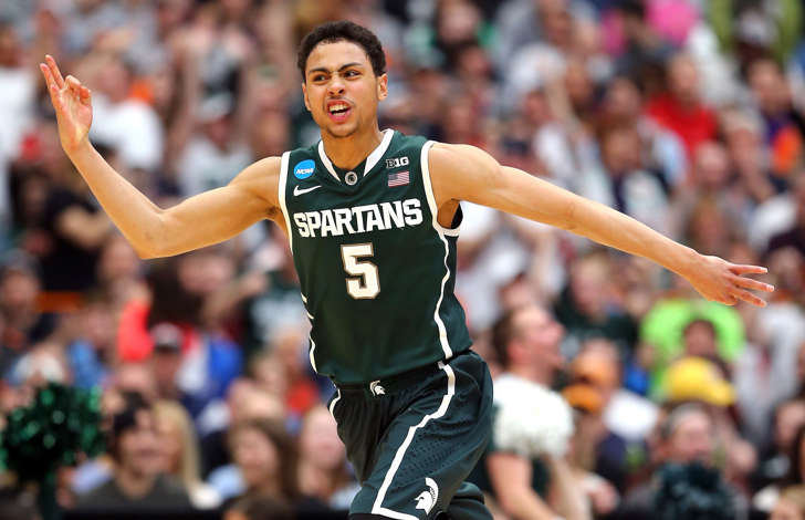 Bryn Forbes of the Michigan State Spartans reacts to sinking a three-pointer in the second half against Louisville during the East Regional Final of the 2015 NCAA Men's Basketball Tournament on Sunday in Syracuse, N.Y. Michigan State won 76-70 to advance to the Final Four.