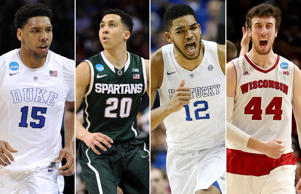 Final Four stars from left: Jahlil Okafor of Duke, Travis Trice of Michigan State, Karl-Anthony Towns of Kentucky, and Frank Kaminsky of Wisconsin.