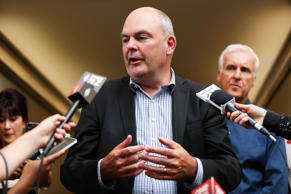 A file picture of Steven Joyce speaking to the media.