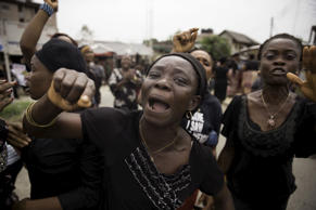 Women from communities in Rivers state protest against irregularities in voting in the weekend's election, at Port Harcourt March 30, 2015.