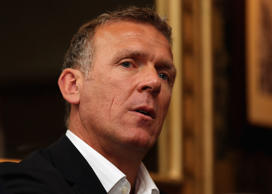 File: Alec Stewart, guest speaker, responds to questions during the SJA Media Lunch sponsored by Ladbrokes at Ye Olde Cock Tavern in London, England
