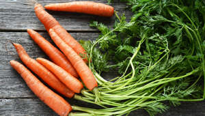 Vegetable background: fresh raw carrots with green tops on wooden table, above
