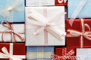 Assortment of wrapped gifts.