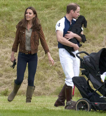 Catherine Duchess of Cambridge and Prince William and his dog Lupo