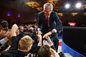 Jeb Bush shakes hands after speaking at the Conservative Political Action Conference (CPAC) at National Harbor in Maryland  February 27, 2015.