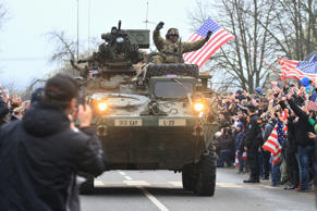 A U.S. military convoy, including IAV Strykers, arrives to the Czech army barracks on March 30, 2015 in Prague after entering the Czech Republic at the border crossing in Harrachov on the way from Baltic countries to base in Vilseck, southern Germany.