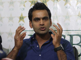 File: Mohammad Hafeez addresses a press conference in Lahore, Pakistan
