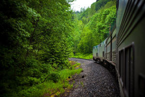 Train through Glacier National Park in Montana.