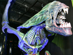 "File: This Wednesday, Nov. 15, 2006 file photo shows a model of the alien queen from the 1986 movie ""Aliens"" at the Miami Museum of Science and Planetarium."