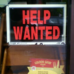 File photo of a Help Wanted sign in Issaquah, Washington