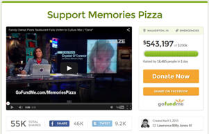 A screenshot from the 'Support Memories Pizza' GoFundMe page.