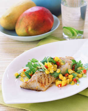 Halibut with mango corn salsa