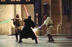 Qui-Gon Jinn (Liam Neeson), Darth Maul (Ray Park), and Obi-Wan Kenobi (Ewan McGregor) in Star Wars: The Phantom Menace