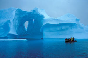 Floating near an iceburg in Antarctica