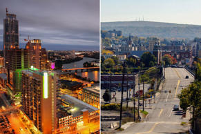 (From left) Austin, Texas and Scranton, Pa.