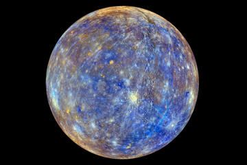 An image of the planet Mercury produced by NASA'S Mercury Surface, Space ENvironment, GEochemistry, and Ranging, or MESSENGER probe is seen in an undated picture released April 16, 2015. These colors are not what Mercury would look like to the human eye, but rather the colors enhance the chemical, mineralogical, and physical differences between the rocks that make up Mercury's surface, according to NASA. The MESSENGER spacecraft that made surprising discoveries of ice and other materials on Mercury will make a crash landing into the planet around April 30.
