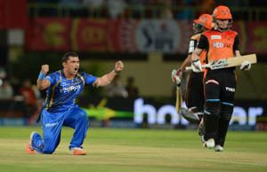 Visakhapatnam: Rajasthan Royals bowler Pravin Tambe celebrates fall of a wicket during an IPL-2015 match between Sunrisers Hyderabad and Rajasthan Royals at Dr. Y.S. Rajasekhara Reddy ACA-VDCA Cricket Stadium, in Visakhapatnam, on April 16, 2015.