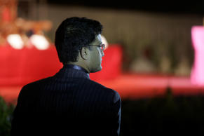 Former Indian cricket captain Sourav Ganguly waits to climb on the dais for his felicitation by Cricket Association of Bengal at his home ground, Eden Gardens, in Calcutta, India, Sunday, Jan. 18, 2009.