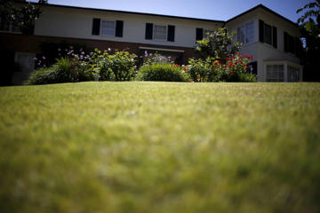 A home with a lawn and flowers is seen in Beverly Hills, California April 8, 2015.