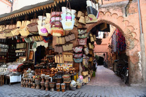 General view of stalls along the markets in Marrakech, Morocco.
