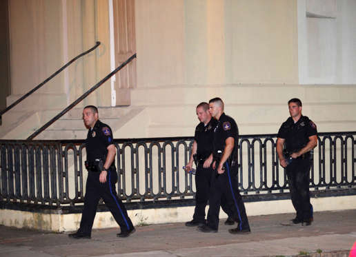 Police respond to a shooting at the Emanuel AME Church in Charleston, South Carolina June 17, 2015. A gunman opened fire on Wednesday evening at the historic African-American church in downtown Charleston, a U.S. police official said.