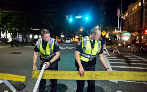 Police close off a section of Calhoun Street near the Emanuel AME Church following a shooting Wednesday, June 17, 2015, in Charleston, S.C.