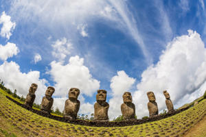 Seven Moai at Ahu Akivi, the first restored altar, Rapa Nui National Park, UNESCO World Heritage Site, Easter Island.