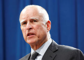 Calif., Gov. Jerry Brown answers a question concerning the budget agreement reac...