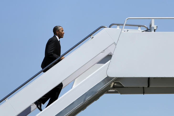 President Barack Obama boards Air Force One in Maryland, May 4, 2015.