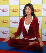 "File: Bollywood actress Shilpa Shetty performs a Yoga posture while promoting her DVD ""Shilpa's Yoga"" in Mumbai September 2, 2008."