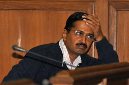 File: Delhi's Chief Minister Arvind Kejriwal, chief of the Aam Aadmi (Common Man) Party (AAP) attends a session at the Delhi assembly in New Delhi February 14, 2014.