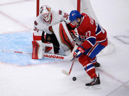 Montreal Canadiens forward Alex Galchenyuk (27) takes a shot on Ottawa Senators goalie Andrew Hammond (30) during the first period in game two of the first round of the the 2015 Stanley Cup Playoffs at the Bell Centre.