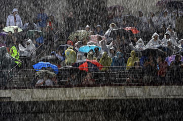 Stormy weather in Arlington, Texas, during a delayed performance at Globe Life Park on April 17.