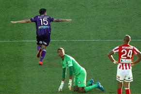 Jamie Maclaren of Perth Glory celebrates after scoring a goal.