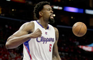 Los Angeles Clippers center DeAndre Jordan celebrates against the San Antonio Spurs during game one of their playoff series in Los Angeles April 19. The Clippers won 107-92.