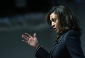 California Attorney General Kamala Harris at Facebook headquarters on February 10, 2015 in Menlo Park, California.