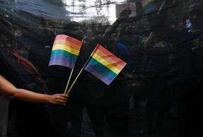 File: Gay rights activists hold black cloth and wave flags as they attend a protest against a verdict by the Supreme Court in New Delhi December 11, 2013.