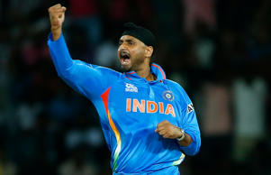 Indian bowler Harbhajan Singh celebrates the wicket of England's batsman Jonny Bairstow during an ICC Twenty20 Cricket World Cup match in Colombo, Sri Lanka, Sunday, Sept. 23, 2012.