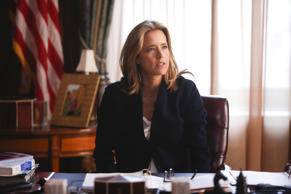 "This image released by CBS shows Tea Leoni as Elizabeth McCord, the shrewd, determined, newly appointed Secretary of State in ""Madam Secretary."""