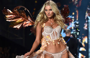 Swedish model Elsa Hosk walks the runway during the 2014 Victoria's Secret Fashion Show at Earl's Court