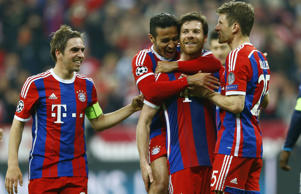 Bayern celebrate their thumping win over Porto