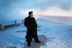 A picture made available on 19 April 2015 by the Korean Central News Agency (KCNA) shows North Korean leader Kim Jong-un posing for a photo on Mount Paekdu, the highest mountain on the Korean Peninsula, 18 April 2015.