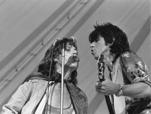 Mick Jagger, left, and Keith Richards, of the Rolling Stones at the Cotton Bowl in Dallas, Texas, on Sunday, July 6, 1975.