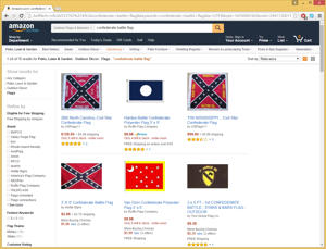 Screenshot of Amazon.com search of 'Confederate battle flags' taken June 23, 2015.