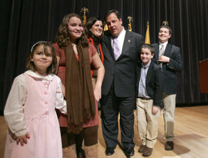 Christopher Christie, a former federal prosecutor, stands with his family during a kickoff to his campaign for governor of New Jersey in Newark, N.J., Wednesday, Feb. 4, 2009. Christie's family are, from left, Bridget, 5, Sarah, 12, wife, Mary Pat, Patrick, 8, and Andrew, 15.